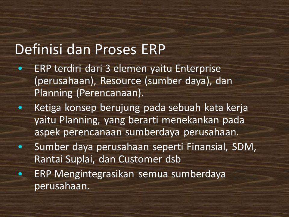 Definisi dan Proses ERP ERP terdiri dari 3 elemen yaitu Enterprise (perusahaan), Resource (sumber daya), dan Planning (Perencanaan).
