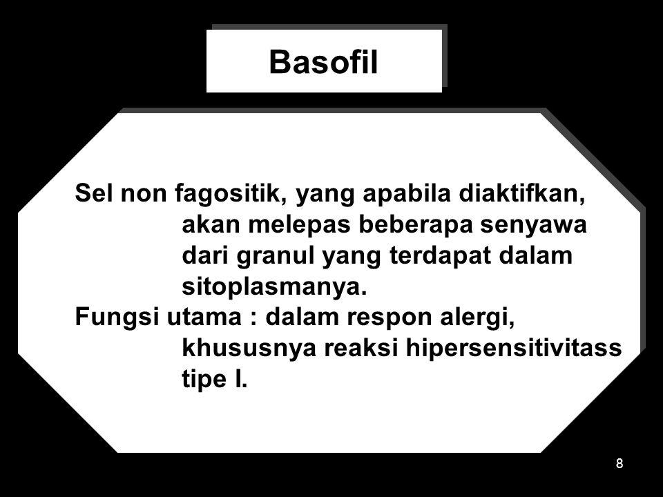 8 Sel non fagositik, yang apabila diaktifkan, akan melepas beberapa senyawa dari granul yang terdapat dalam sitoplasmanya.