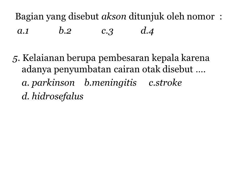 Bagian yang disebut akson ditunjuk oleh nomor : a.1 b.2 c.3 d.4 5.