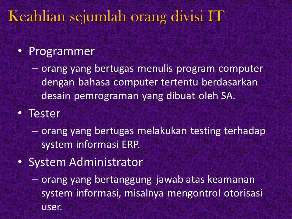 Keahlian sejumlah orang divisi IT Programmer – orang yang bertugas menulis program computer dengan bahasa computer tertentu berdasarkan desain pemrogr