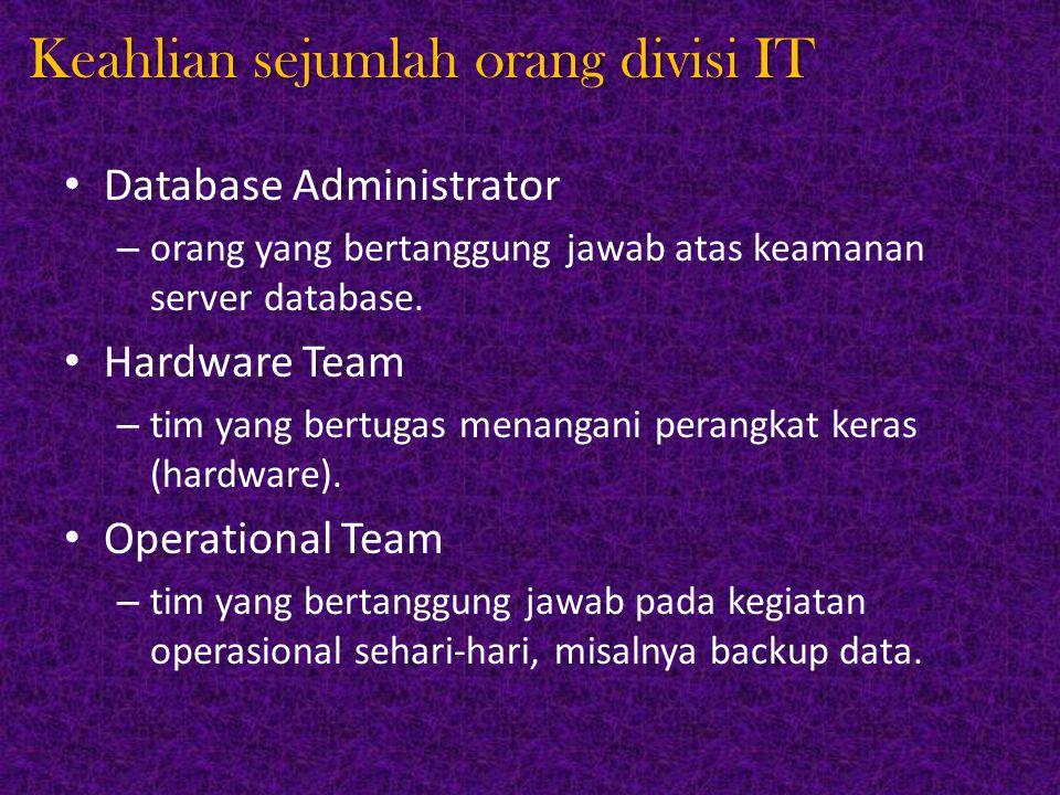 Keahlian sejumlah orang divisi IT Database Administrator – orang yang bertanggung jawab atas keamanan server database. Hardware Team – tim yang bertug