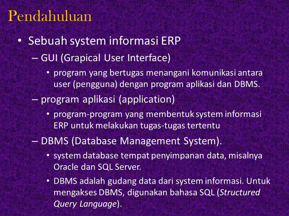 Pendahuluan Sebuah system informasi ERP – GUI (Grapical User Interface) program yang bertugas menangani komunikasi antara user (pengguna) dengan progr