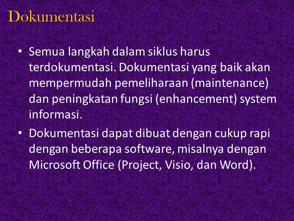 Dokumentasi Semua langkah dalam siklus harus terdokumentasi. Dokumentasi yang baik akan mempermudah pemeliharaan (maintenance) dan peningkatan fungsi