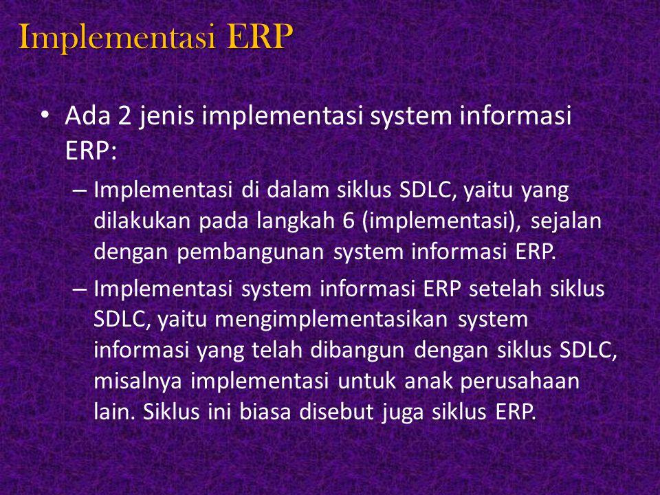 Implementasi ERP Ada 2 jenis implementasi system informasi ERP: – Implementasi di dalam siklus SDLC, yaitu yang dilakukan pada langkah 6 (implementasi