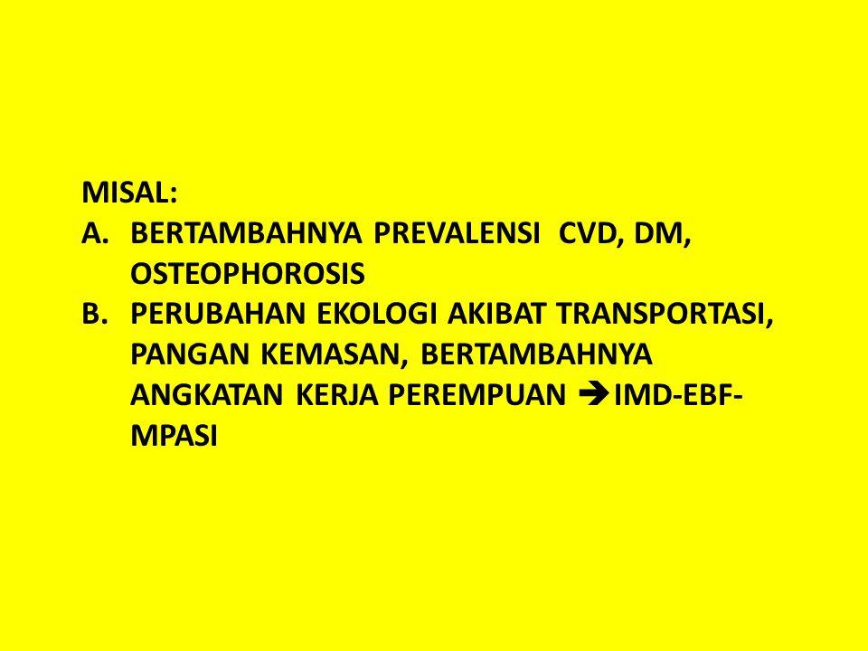 MISAL: A.BERTAMBAHNYA PREVALENSI CVD, DM, OSTEOPHOROSIS B.PERUBAHAN EKOLOGI AKIBAT TRANSPORTASI, PANGAN KEMASAN, BERTAMBAHNYA ANGKATAN KERJA PEREMPUAN