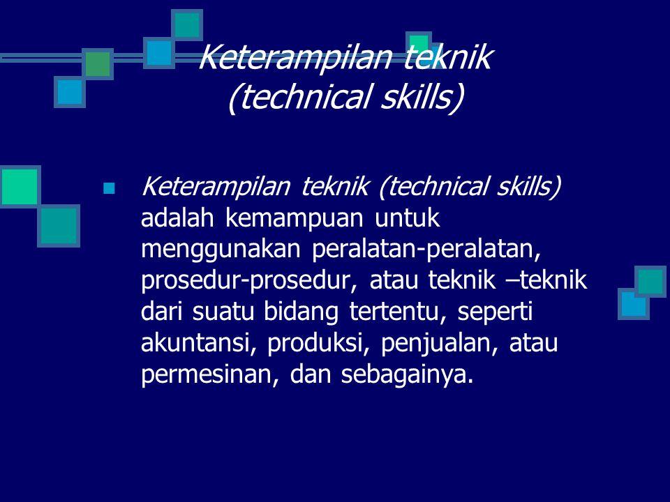 Keterampilan mana yang relatif lebih penting tergantung pada tipe organisasi, tingkatan manajerial dan fungsi yang sedang dilaksanakan.