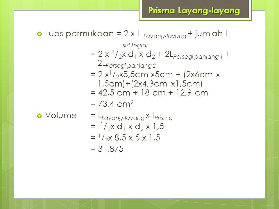  Luas permukaan = 2 x L Layang-layang + jumlah L sisi tegak = 2 x 1 / 2 x d 1 x d 2 + 2L Persegi panjang 1 + 2L Persegi panjang 2 = 2 x 1 / 2 x8,5cm x5cm + (2x6cm x 1,5cm)+(2x4,3cm x1,5cm) = 42,5 cm + 18 cm + 12,9 cm = 73,4 cm 2  Volume = L Layang-layang x t Prisma = 1 / 2 x d 1 x d 2 x 1,5 = 1 / 2 x 8,5 x 5 x 1,5 = 31,875 Prisma Layang-layang