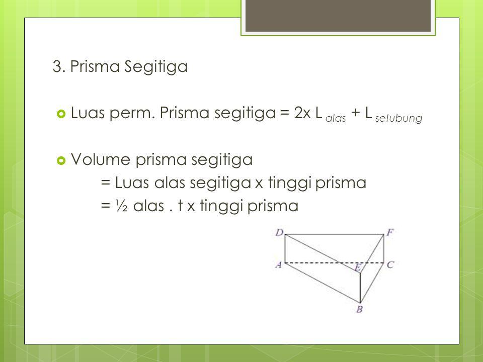  Luas permukaan= 2xL Jajar genjang +2L Persegi panjang1 +2L Persegi panjang 2 = 2x a x t + 2xpx l + 2xpxl = 2x4cmx6cm + 2x6cm x1,5cm + 2x4,3cmx1,5cm = 48cm + 18cm + 12,9cm = 78,9 cm 2  Volume = a x t x t Prisma = 4cm x 6cm x 1,5 cm = 24cm 2 x 1,5cm = 36 cm 3 Prisma Jajar Genjang