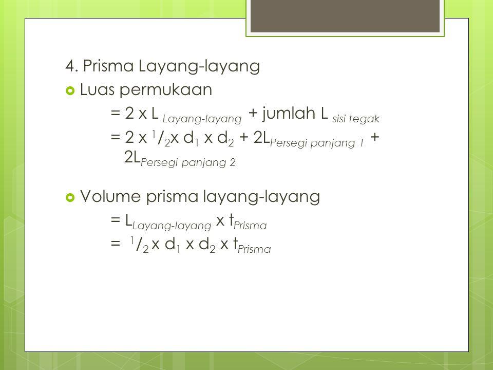 4. Prisma Layang-layang  Luas permukaan = 2 x L Layang-layang + jumlah L sisi tegak = 2 x 1 / 2 x d 1 x d 2 + 2L Persegi panjang 1 + 2L Persegi panja