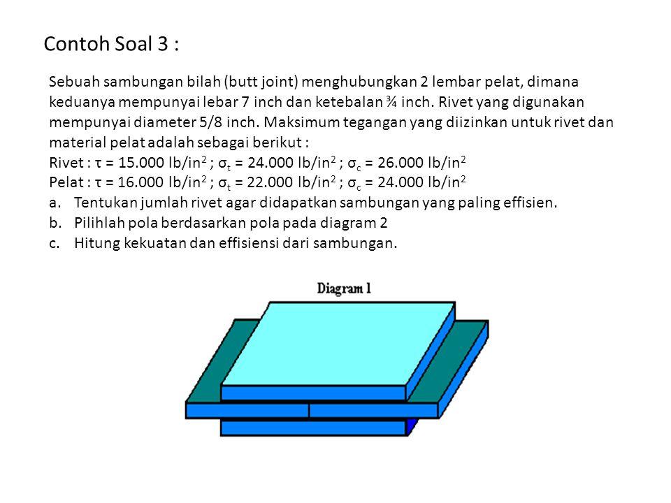 Contoh Soal 3 : Sebuah sambungan bilah (butt joint) menghubungkan 2 lembar pelat, dimana keduanya mempunyai lebar 7 inch dan ketebalan ¾ inch. Rivet y