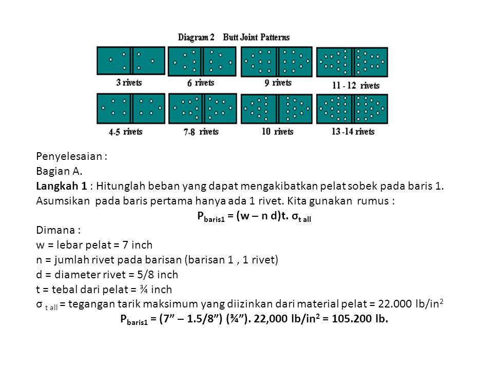 Penyelesaian : Bagian A. Langkah 1 : Hitunglah beban yang dapat mengakibatkan pelat sobek pada baris 1. Asumsikan pada baris pertama hanya ada 1 rivet