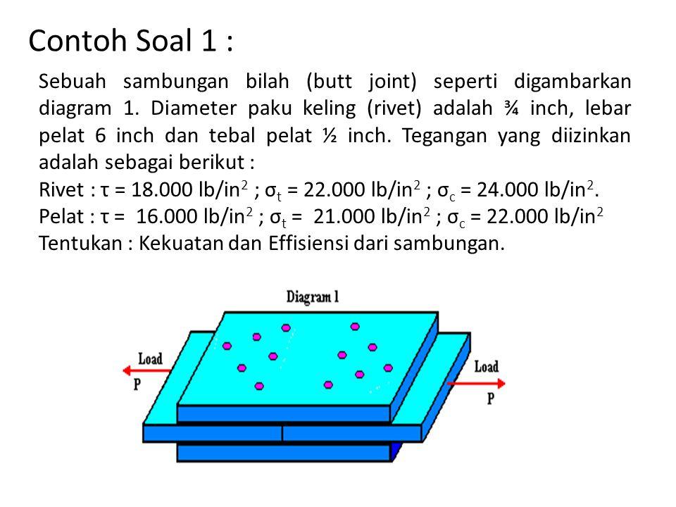 Contoh Soal 1 : Sebuah sambungan bilah (butt joint) seperti digambarkan diagram 1. Diameter paku keling (rivet) adalah ¾ inch, lebar pelat 6 inch dan