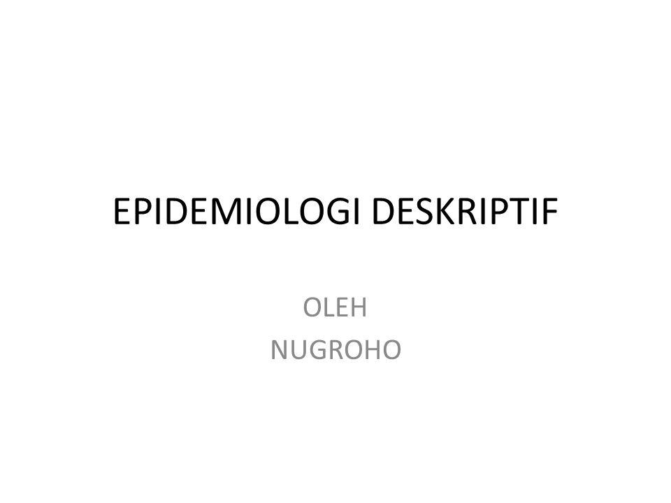 Ukuran Dalam Epidemiologi Deskriptif Insiden -  Kasus Baru Prevalensi -  Kasus baru dan Lama Proporsi -  Kasus Merupakan penyebut Rate-  laju kejadian -  time-pearson