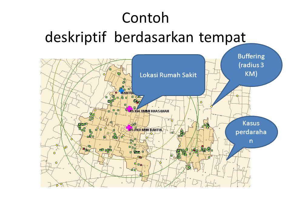 Contoh deskriptif berdasarkan tempat Buffering (radius 3 KM) Kasus perdaraha n Lokasi Rumah Sakit
