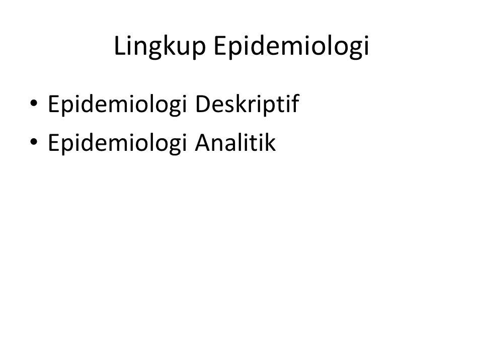 Lingkup Epidemiologi Epidemiologi Deskriptif Epidemiologi Analitik
