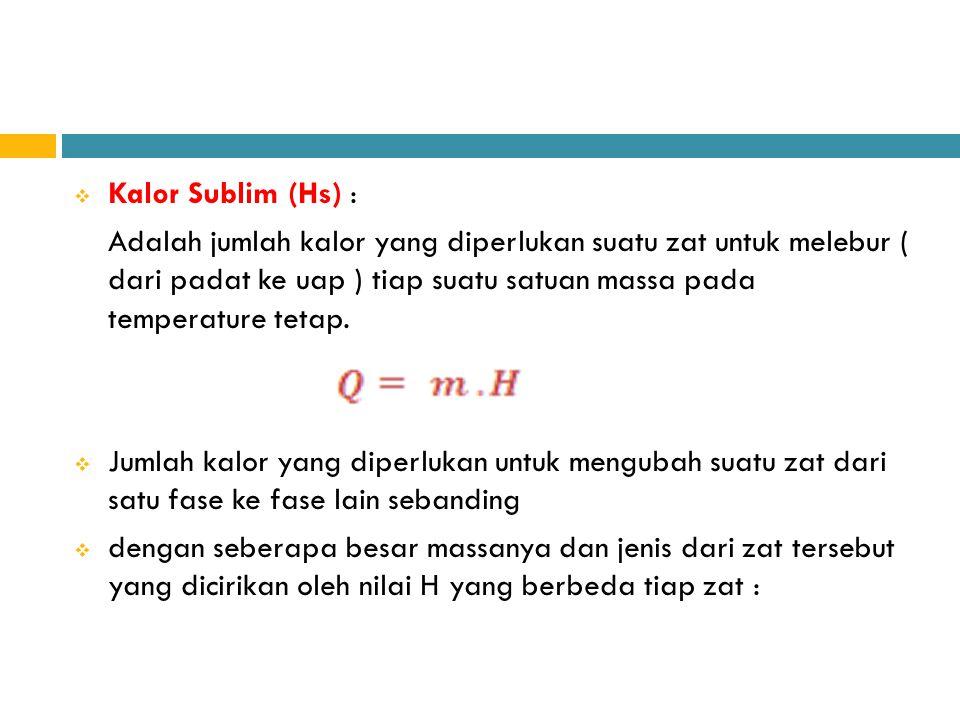  Kalor Sublim (Hs) : Adalah jumlah kalor yang diperlukan suatu zat untuk melebur ( dari padat ke uap ) tiap suatu satuan massa pada temperature tetap
