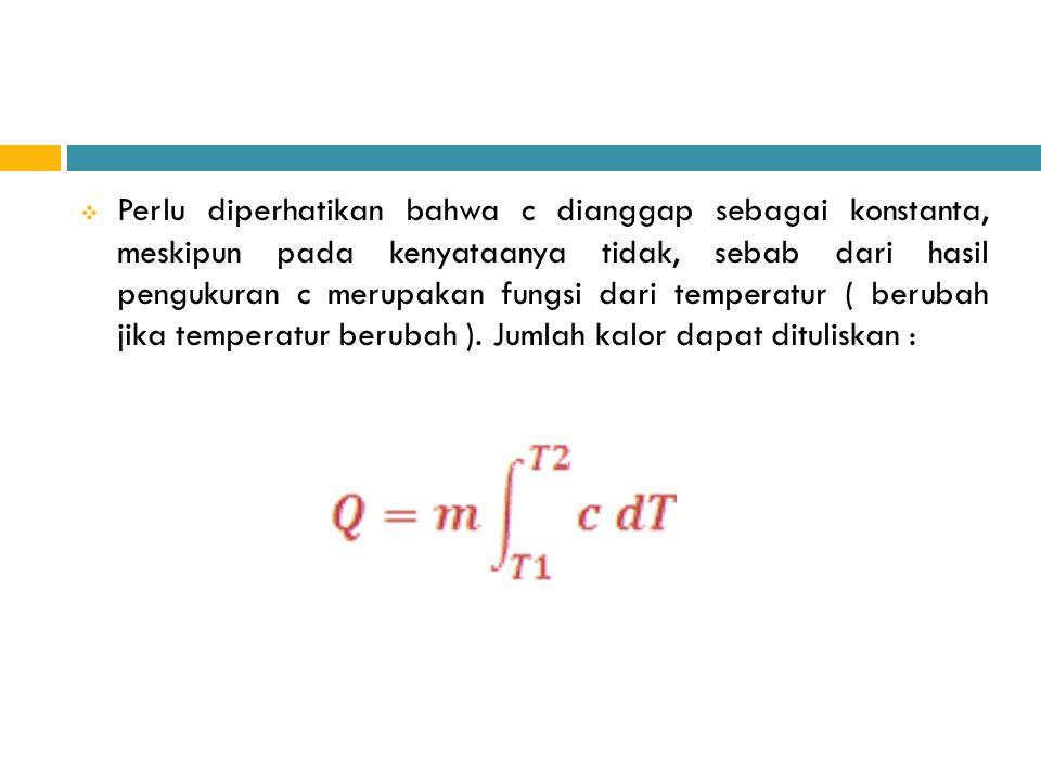 Perlu diperhatikan bahwa c dianggap sebagai konstanta, meskipun pada kenyataanya tidak, sebab dari hasil pengukuran c merupakan fungsi dari temperat