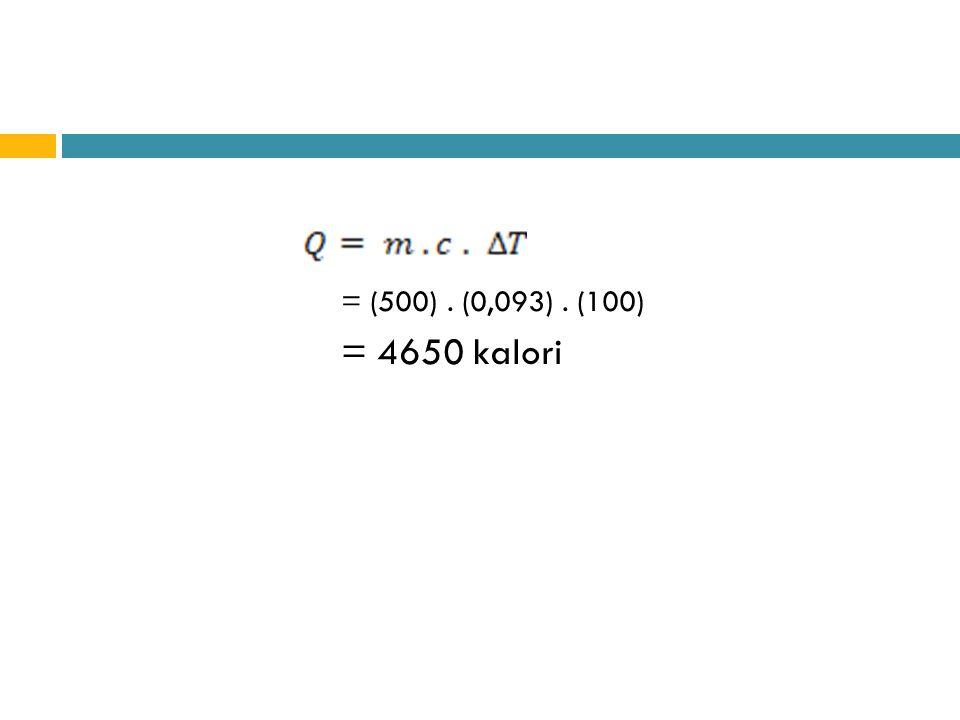 Dengan:  ma= massa air ( gram )  Ca= panas jenis air ( 1 kal/gr)  t1 = suhu mula – mula (ºC)  t2 = suhu akhir (ºC)  mkp= massa calorimeter dan pengaduk ( gram )  Ckp= panas jenis calorimeter ( 0,093 kal/gr)
