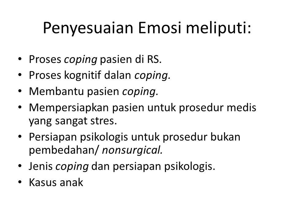 Penyesuaian Emosi meliputi: Proses coping pasien di RS.