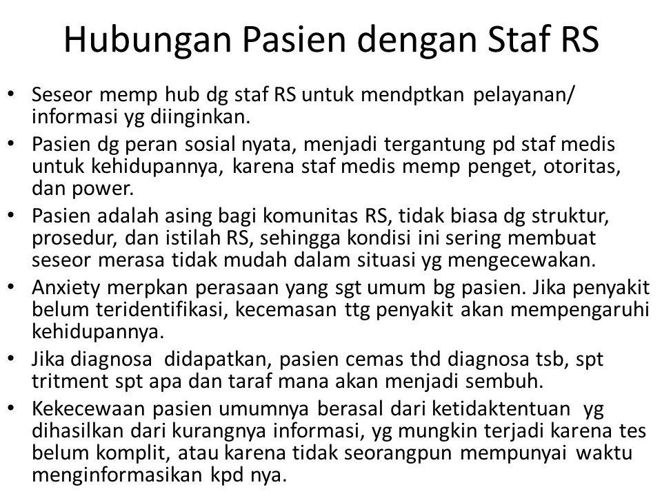 Hubungan Pasien dengan Staf RS Seseor memp hub dg staf RS untuk mendptkan pelayanan/ informasi yg diinginkan.