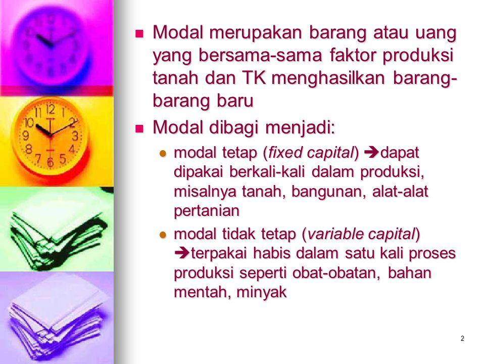 2 Modal merupakan barang atau uang yang bersama-sama faktor produksi tanah dan TK menghasilkan barang- barang baru Modal merupakan barang atau uang ya