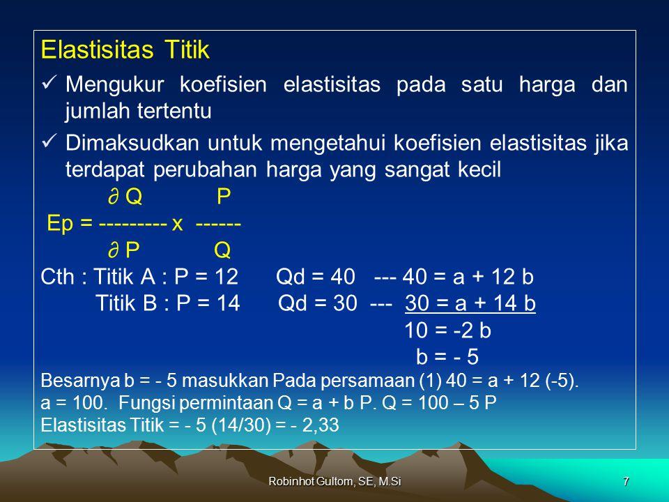 Robinhot Gultom, SE, M.Si7 Elastisitas Titik Mengukur koefisien elastisitas pada satu harga dan jumlah tertentu Dimaksudkan untuk mengetahui koefisien elastisitas jika terdapat perubahan harga yang sangat kecil ∂ Q P Ep = --------- x ------ ∂ P Q Cth : Titik A : P = 12 Qd = 40 --- 40 = a + 12 b Titik B : P = 14 Qd = 30 --- 30 = a + 14 b 10 = -2 b b = - 5 Besarnya b = - 5 masukkan Pada persamaan (1) 40 = a + 12 (-5).