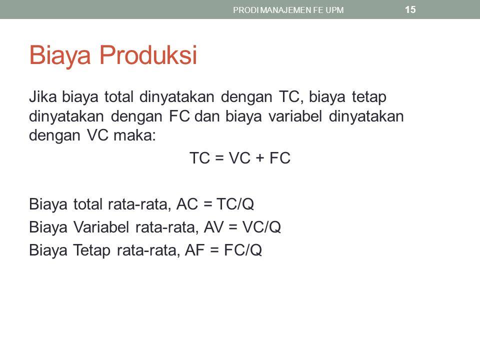 Biaya Produksi Jika biaya total dinyatakan dengan TC, biaya tetap dinyatakan dengan FC dan biaya variabel dinyatakan dengan VC maka: TC = VC + FC Biaya total rata-rata, AC = TC/Q Biaya Variabel rata-rata, AV = VC/Q Biaya Tetap rata-rata, AF = FC/Q PRODI MANAJEMEN FE UPM 15