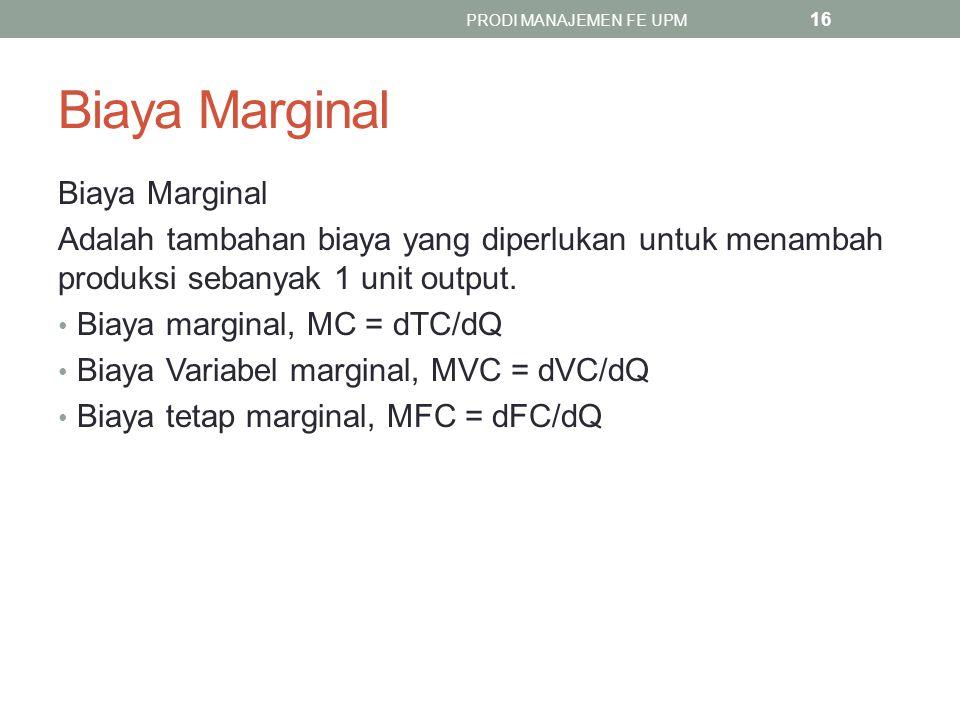 Biaya Marginal Adalah tambahan biaya yang diperlukan untuk menambah produksi sebanyak 1 unit output. Biaya marginal, MC = dTC/dQ Biaya Variabel margin