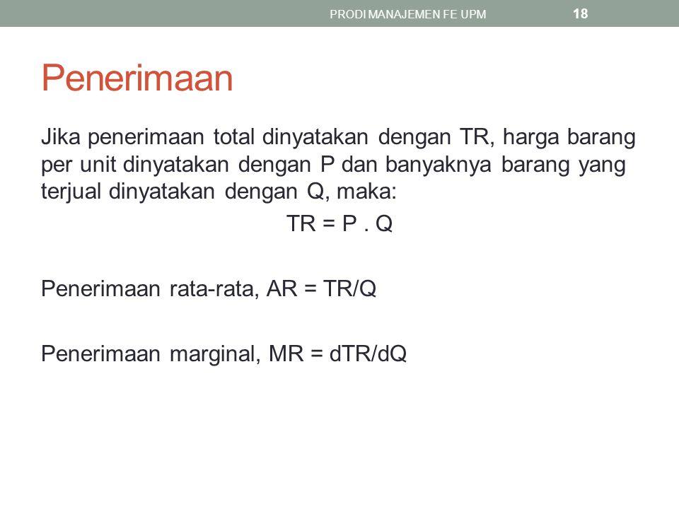 Penerimaan Jika penerimaan total dinyatakan dengan TR, harga barang per unit dinyatakan dengan P dan banyaknya barang yang terjual dinyatakan dengan Q, maka: TR = P.
