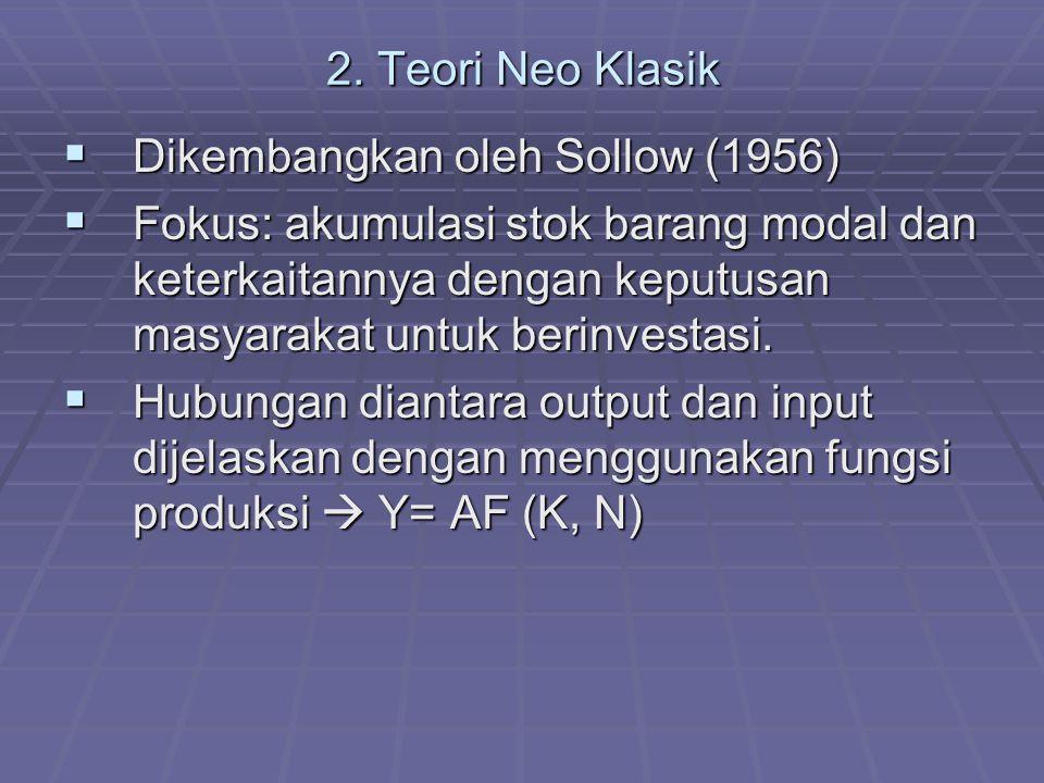 2. Teori Neo Klasik  Dikembangkan oleh Sollow (1956)  Fokus: akumulasi stok barang modal dan keterkaitannya dengan keputusan masyarakat untuk berinv