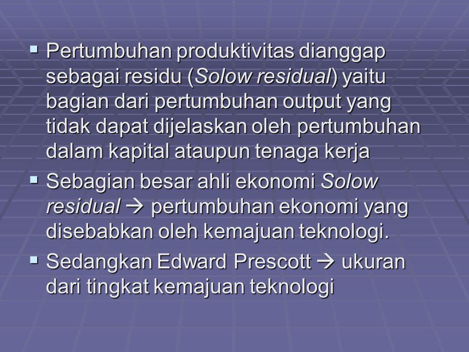  Pertumbuhan produktivitas dianggap sebagai residu (Solow residual) yaitu bagian dari pertumbuhan output yang tidak dapat dijelaskan oleh pertumbuha