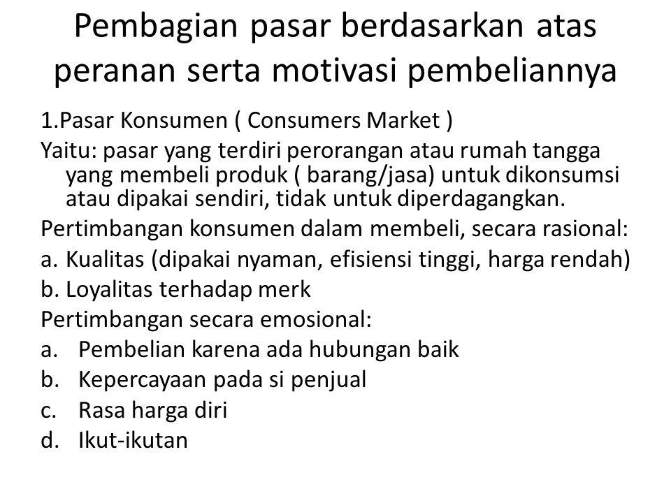Pembagian pasar berdasarkan atas peranan serta motivasi pembeliannya 1.Pasar Konsumen ( Consumers Market ) Yaitu: pasar yang terdiri perorangan atau r