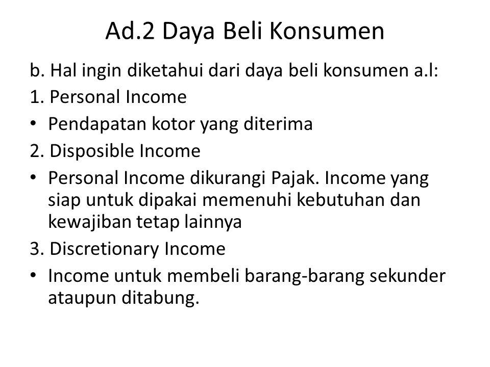 Ad.2 Daya Beli Konsumen b. Hal ingin diketahui dari daya beli konsumen a.l: 1. Personal Income Pendapatan kotor yang diterima 2. Disposible Income Per