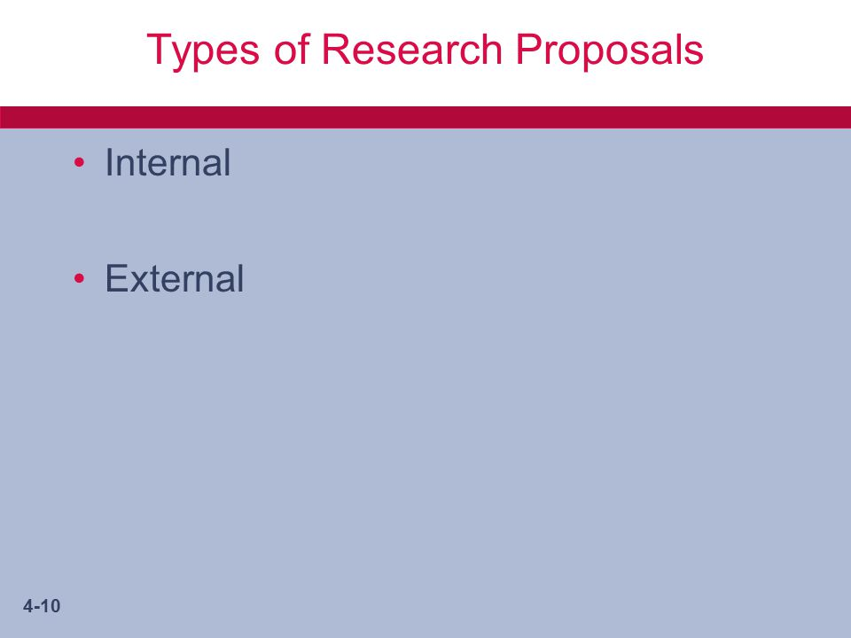 4-10 Types of Research Proposals Internal External