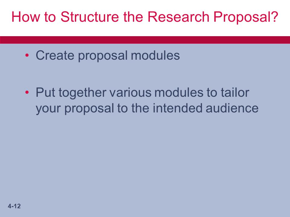4-12 How to Structure the Research Proposal.