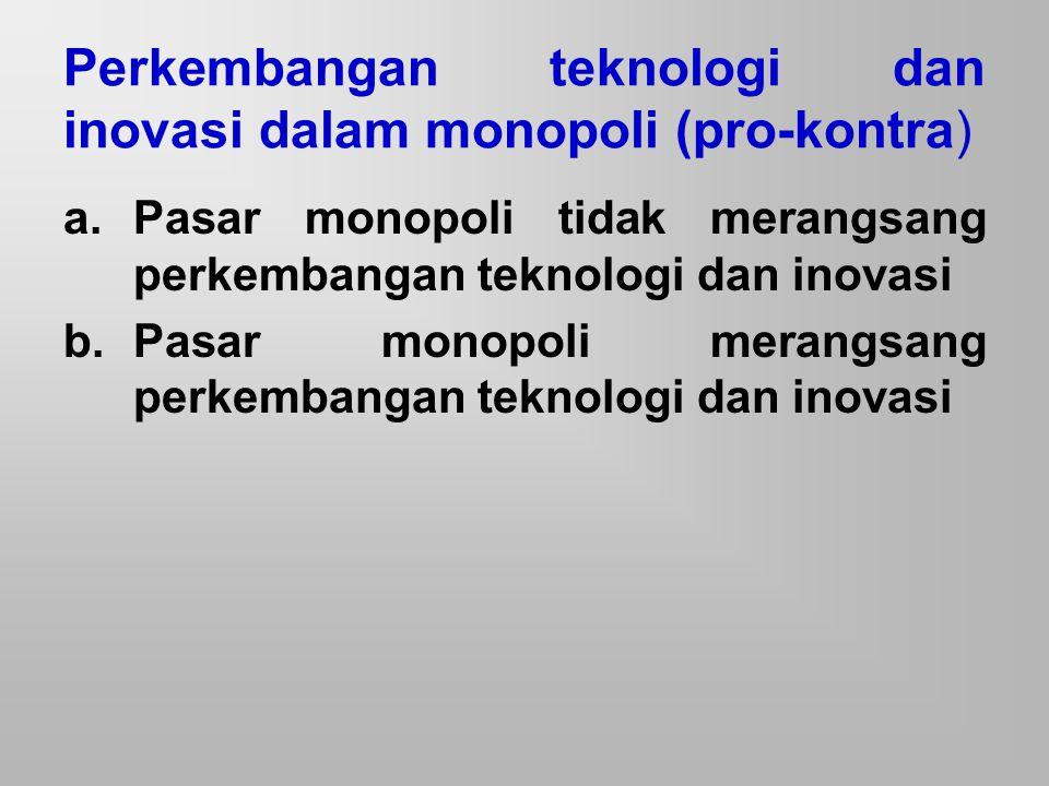Monopoli tidak merangsang per kembangan teknologi dan inovasi Tidak terdapat persaingan usaha Pengembangan teknologi dan upaya inovasi membutuhkan biaya besar