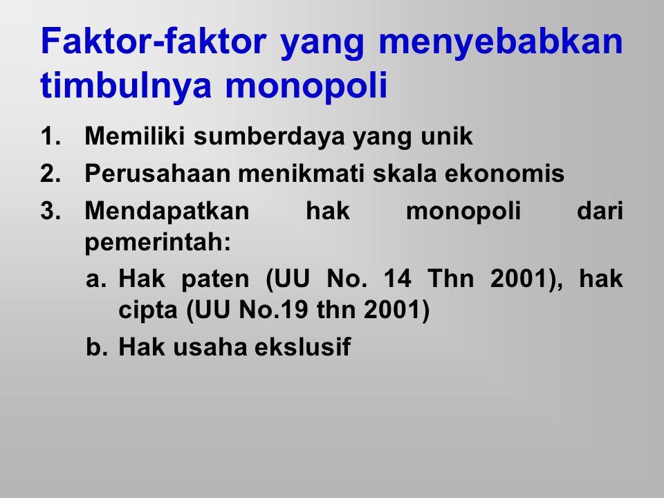 Faktor-faktor yang menyebabkan timbulnya monopoli 1.Memiliki sumberdaya yang unik 2.Perusahaan menikmati skala ekonomis 3.Mendapatkan hak monopoli dar