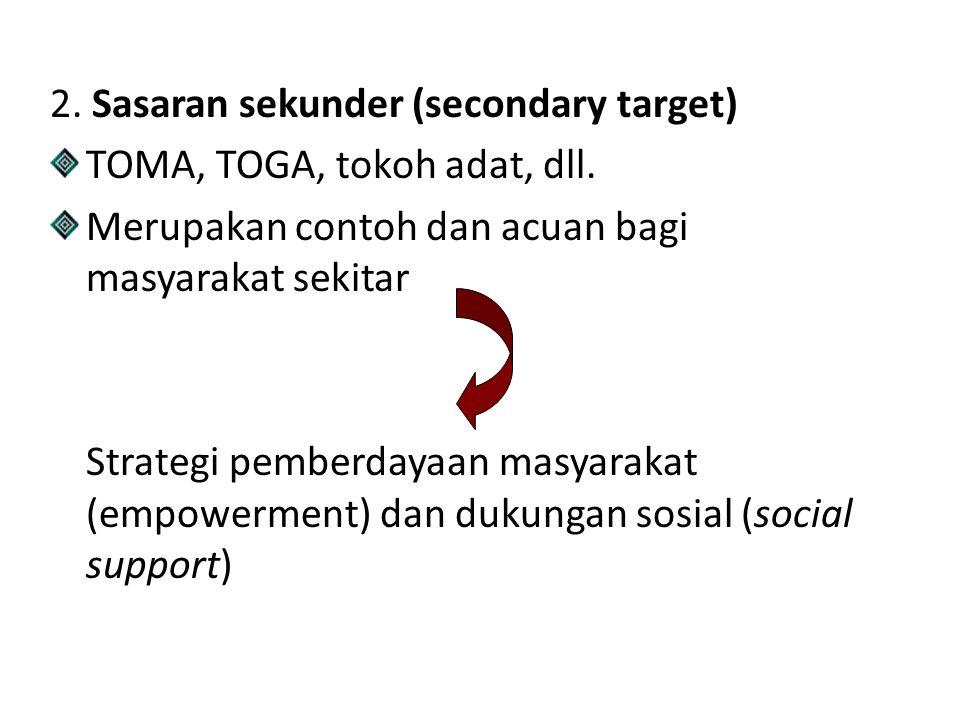 2.Sasaran sekunder (secondary target) TOMA, TOGA, tokoh adat, dll.