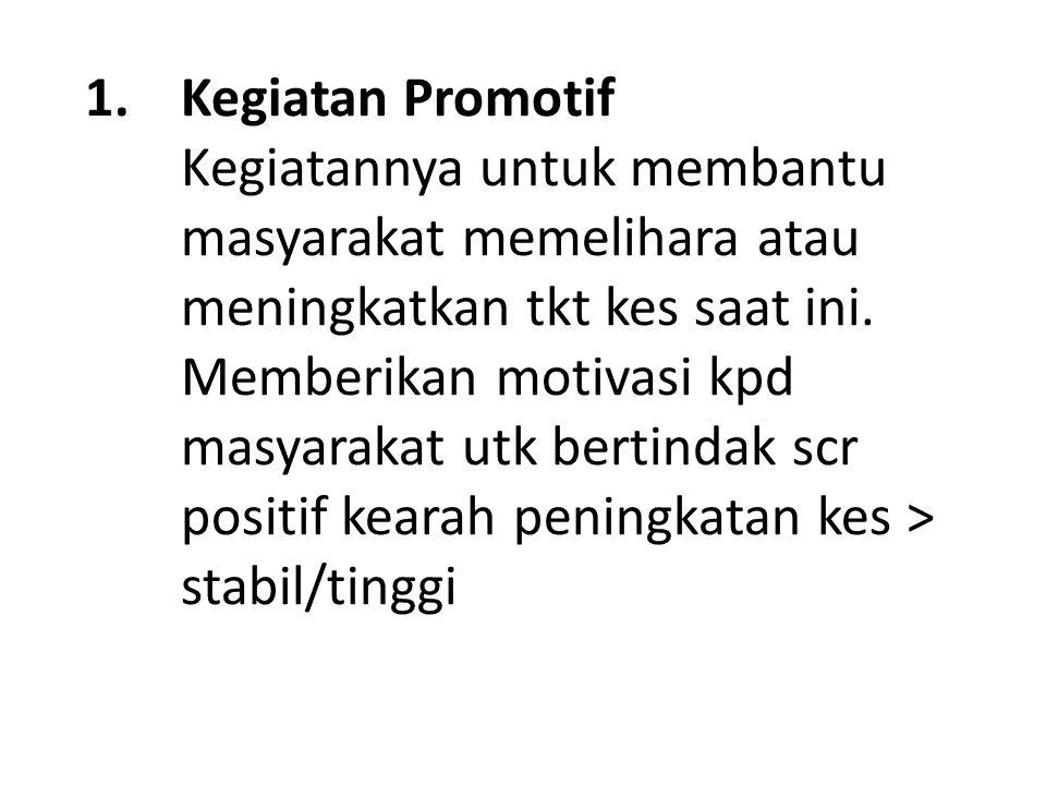 1.Kegiatan Promotif Kegiatannya untuk membantu masyarakat memelihara atau meningkatkan tkt kes saat ini.