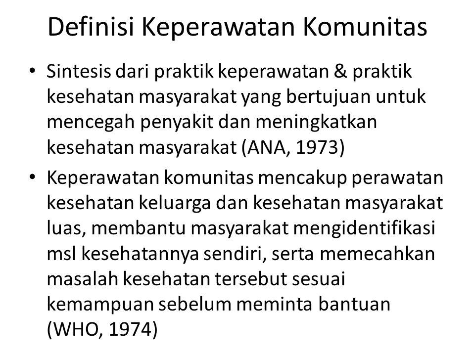 Definisi Keperawatan Komunitas Sintesis dari praktik keperawatan & praktik kesehatan masyarakat yang bertujuan untuk mencegah penyakit dan meningkatkan kesehatan masyarakat (ANA, 1973) Keperawatan komunitas mencakup perawatan kesehatan keluarga dan kesehatan masyarakat luas, membantu masyarakat mengidentifikasi msl kesehatannya sendiri, serta memecahkan masalah kesehatan tersebut sesuai kemampuan sebelum meminta bantuan (WHO, 1974)