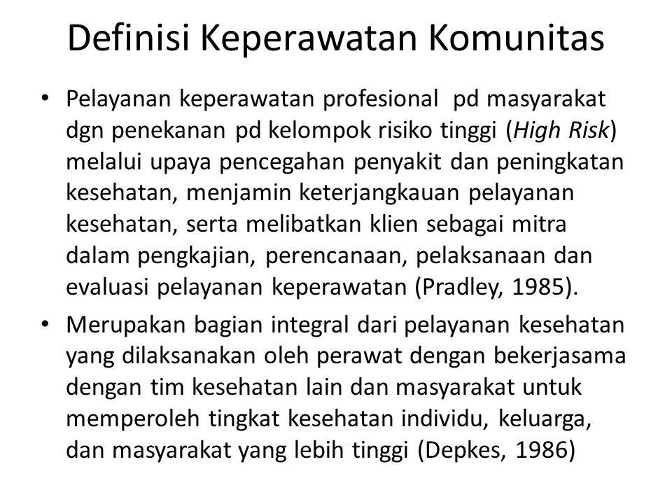Definisi Keperawatan Komunitas Pelayanan keperawatan profesional pd masyarakat dgn penekanan pd kelompok risiko tinggi (High Risk) melalui upaya pencegahan penyakit dan peningkatan kesehatan, menjamin keterjangkauan pelayanan kesehatan, serta melibatkan klien sebagai mitra dalam pengkajian, perencanaan, pelaksanaan dan evaluasi pelayanan keperawatan (Pradley, 1985).