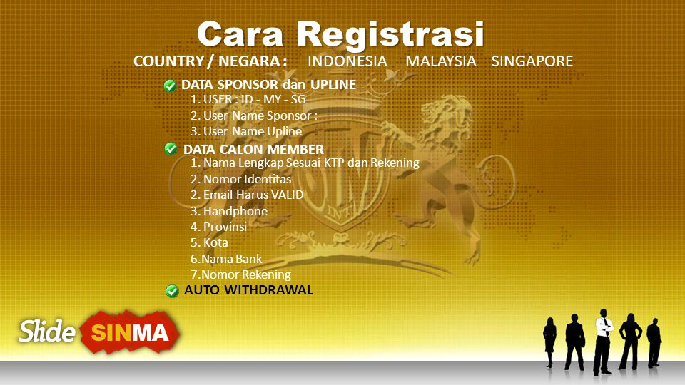 Cara Registrasi COUNTRY / NEGARA : INDONESIA MALAYSIA SINGAPORE DATA SPONSOR dan UPLINE 1. USER : ID - MY - SG 2. User Name Sponsor : 3. User Name Upl