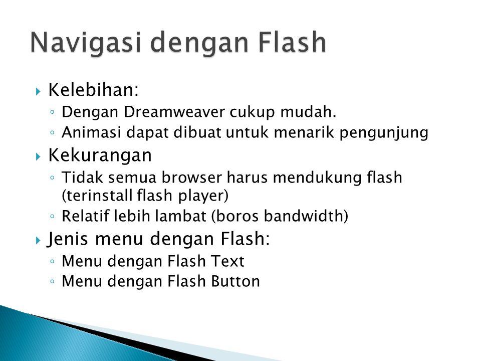 Kelebihan: ◦ Dengan Dreamweaver cukup mudah. ◦ Animasi dapat dibuat untuk menarik pengunjung  Kekurangan ◦ Tidak semua browser harus mendukung flas