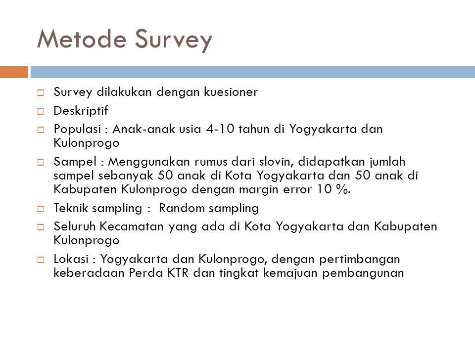 Metode Survey  Survey dilakukan dengan kuesioner  Deskriptif  Populasi : Anak-anak usia 4-10 tahun di Yogyakarta dan Kulonprogo  Sampel : Menggunakan rumus dari slovin, didapatkan jumlah sampel sebanyak 50 anak di Kota Yogyakarta dan 50 anak di Kabupaten Kulonprogo dengan margin error 10 %.