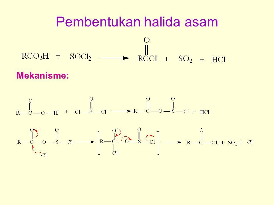 Pembentukan halida asam Mekanisme: