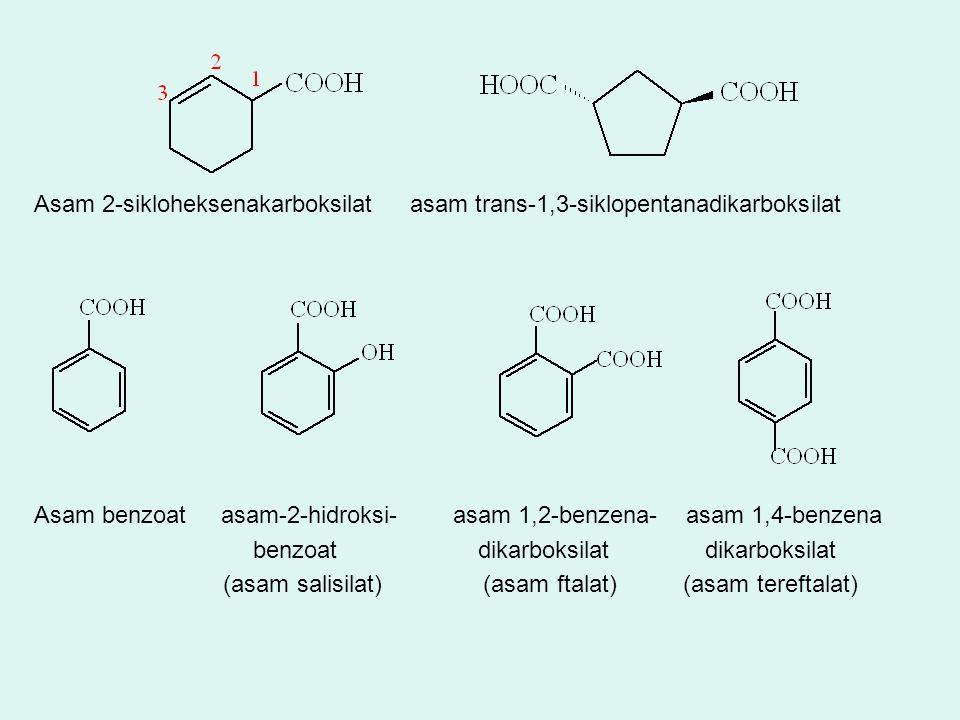 Asam 2-sikloheksenakarboksilat asam trans-1,3-siklopentanadikarboksilat Asam benzoat asam-2-hidroksi- asam 1,2-benzena- asam 1,4-benzena benzoat dikar