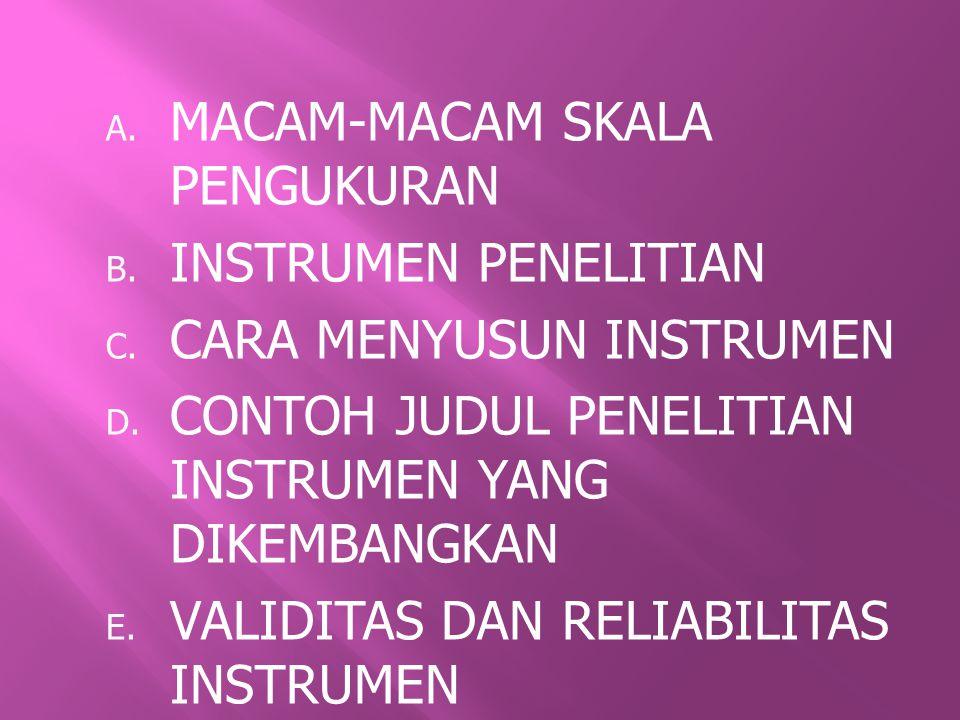 A.MACAM-MACAM SKALA PENGUKURAN B. INSTRUMEN PENELITIAN C.