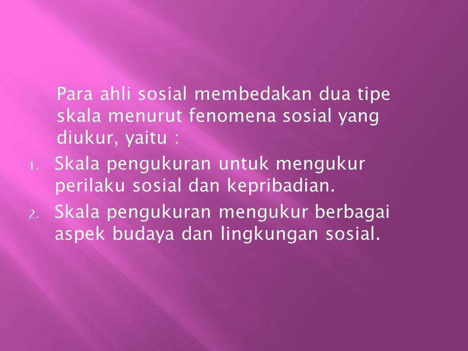 Skala yang biasa digunakan untuk penelitian administrasi, pendidikan dan sosial antara lain : 1.