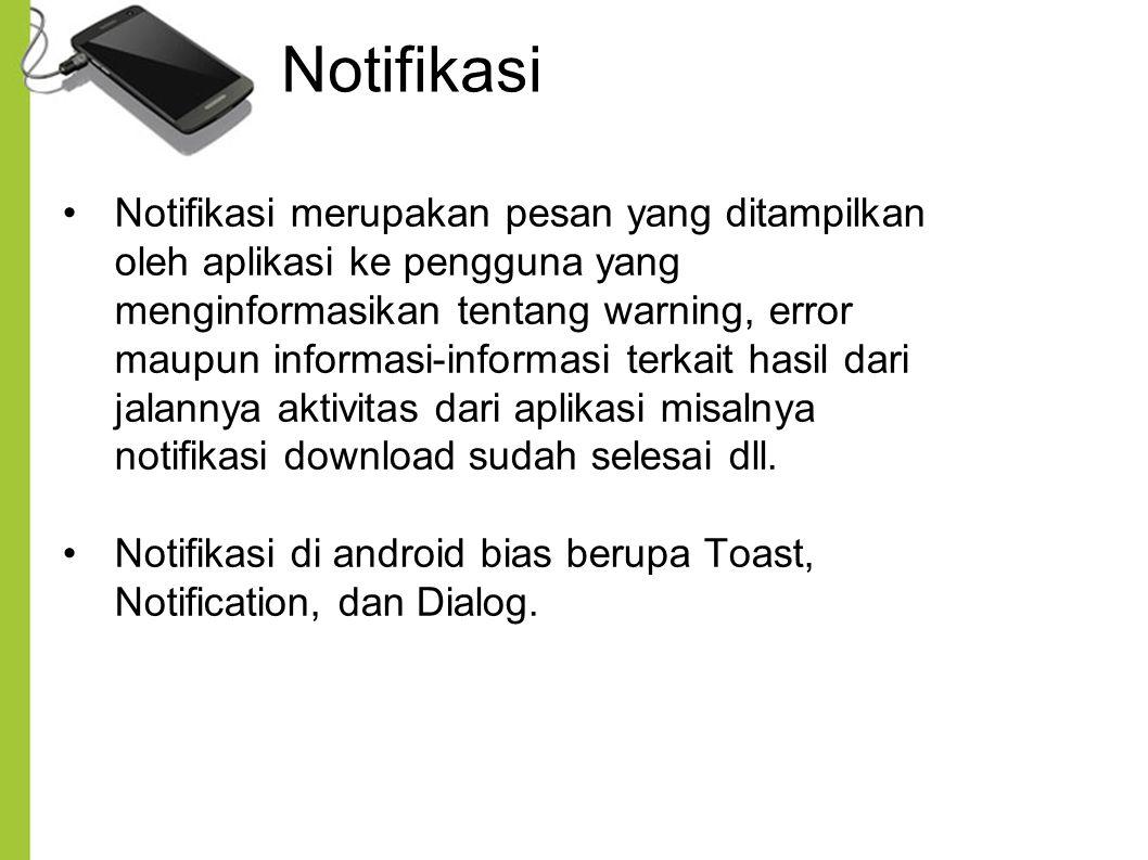 Notifikasi Notifikasi merupakan pesan yang ditampilkan oleh aplikasi ke pengguna yang menginformasikan tentang warning, error maupun informasi-informa