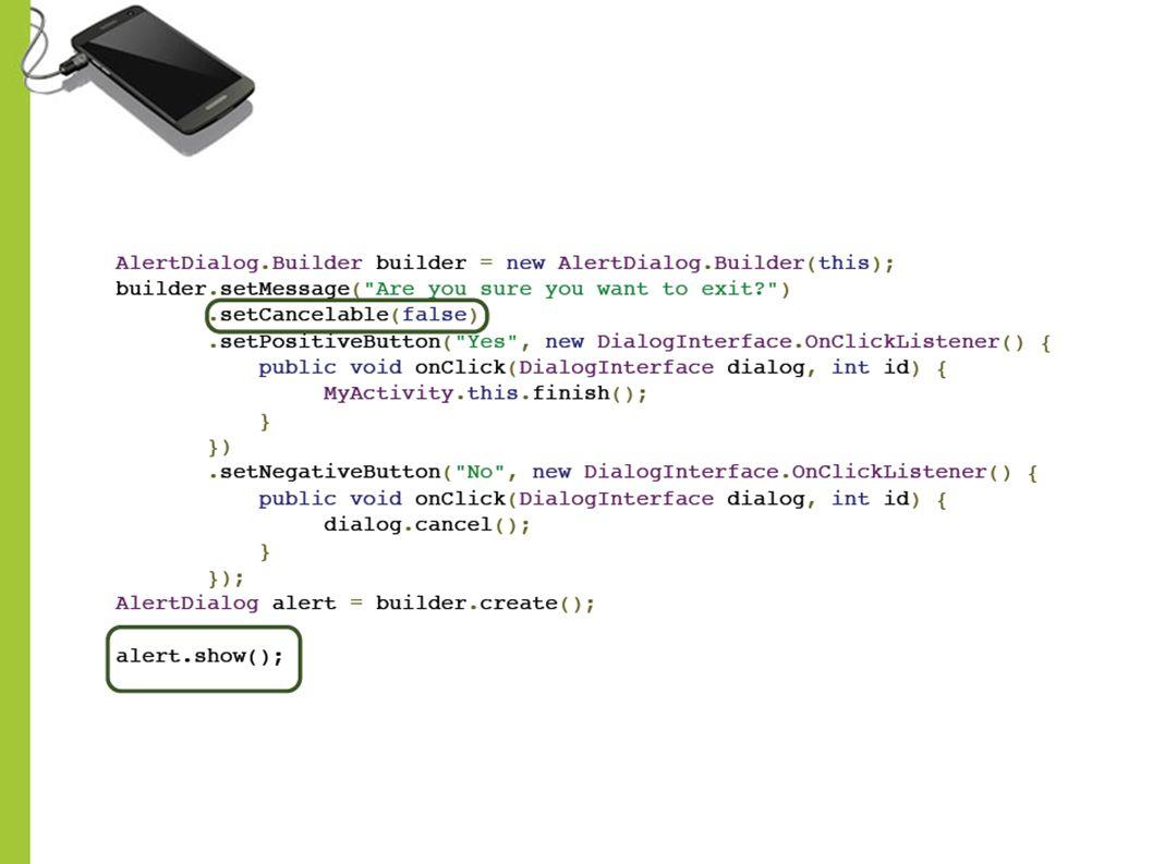 Combo pilihan pada Alert Dialog Pada Alert Dialog juga bisa digunakan untuk prompt user memilih dari beberapa pilihan combo.